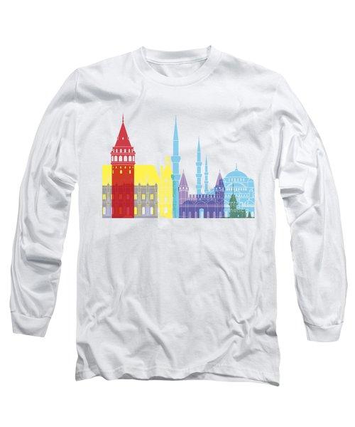 Istanbul Skyline Pop Long Sleeve T-Shirt by Pablo Romero