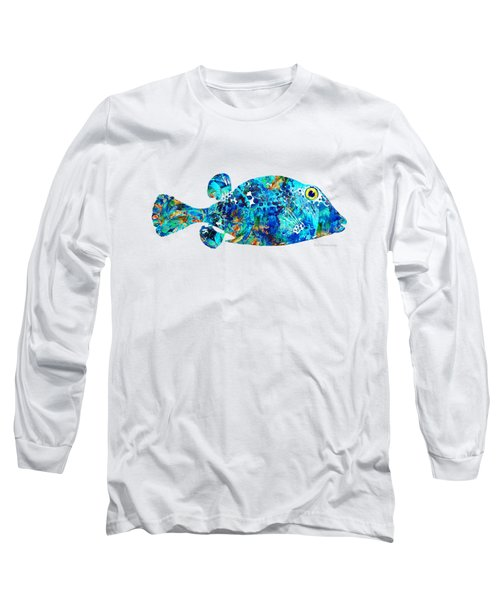 Blue Puffer Fish Art By Sharon Cummings Long Sleeve T-Shirt by Sharon Cummings