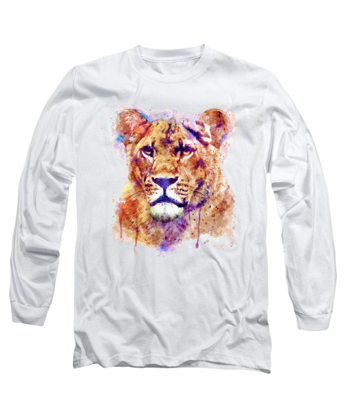 Lioness Head Long Sleeve T-Shirt by Marian Voicu