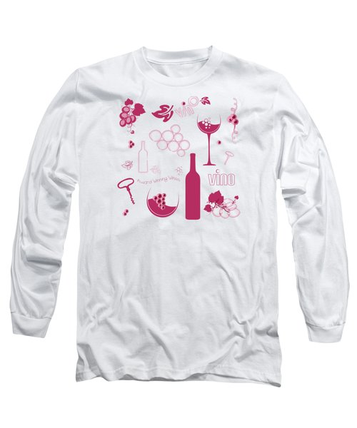 Wine Background Pattern Long Sleeve T-Shirt by Serena King