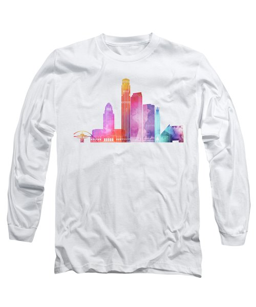 Los Angeles Landmarks Watercolor Poster Long Sleeve T-Shirt by Pablo Romero