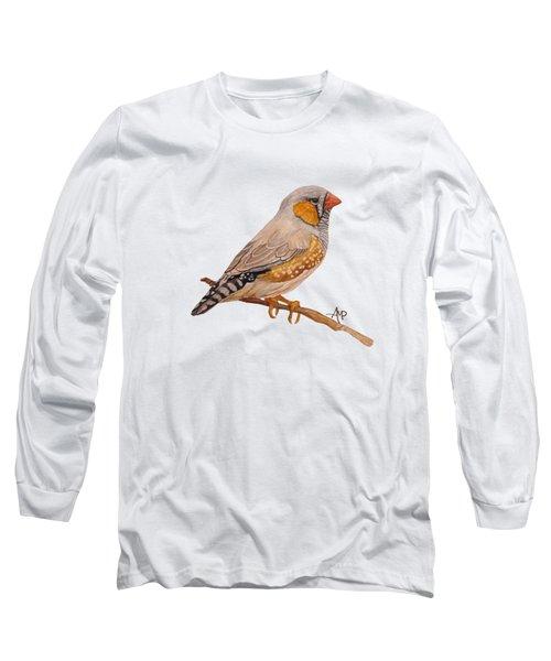 Zebra Finch Long Sleeve T-Shirt by Angeles M Pomata