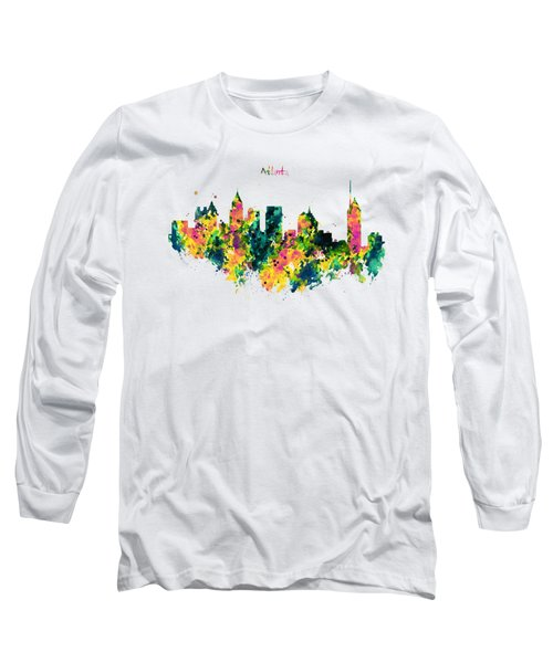Atlanta Watercolor Skyline  Long Sleeve T-Shirt by Marian Voicu