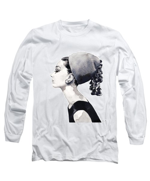 Audrey Hepburn For Vogue 1964 Couture Long Sleeve T-Shirt by Laura Row