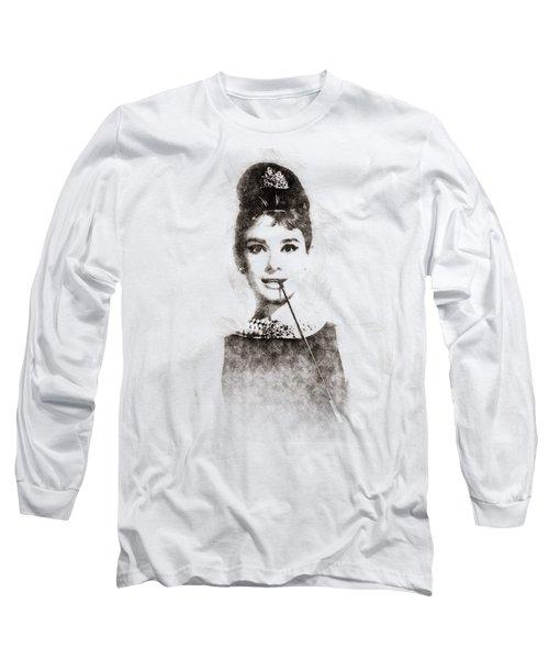 Audrey Hepburn Portrait 01 Long Sleeve T-Shirt by Pablo Romero