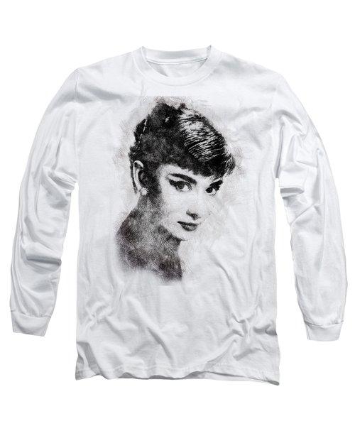 Audrey Hepburn Portrait 03 Long Sleeve T-Shirt by Pablo Romero