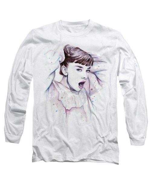 Audrey - Purple Scream Long Sleeve T-Shirt by Olga Shvartsur