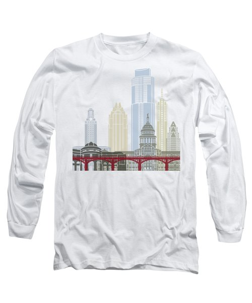 Austin Skyline Poster Long Sleeve T-Shirt by Pablo Romero
