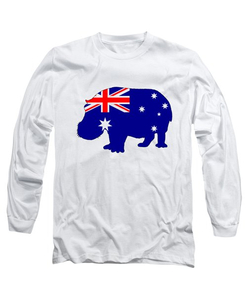 Australian Flag - Hippopotamus Long Sleeve T-Shirt by Mordax Furittus