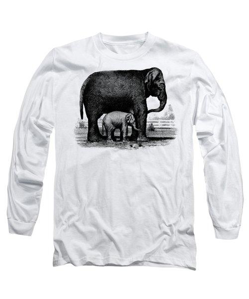 Baby Elephant T-shirt Long Sleeve T-Shirt by Edward Fielding