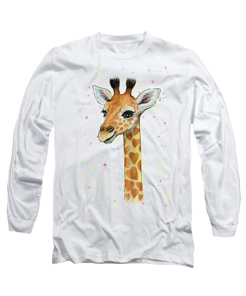 Baby Giraffe Watercolor With Heart Shaped Spots Long Sleeve T-Shirt by Olga Shvartsur