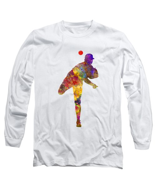 Baseball Player Throwing A Ball Long Sleeve T-Shirt by Pablo Romero