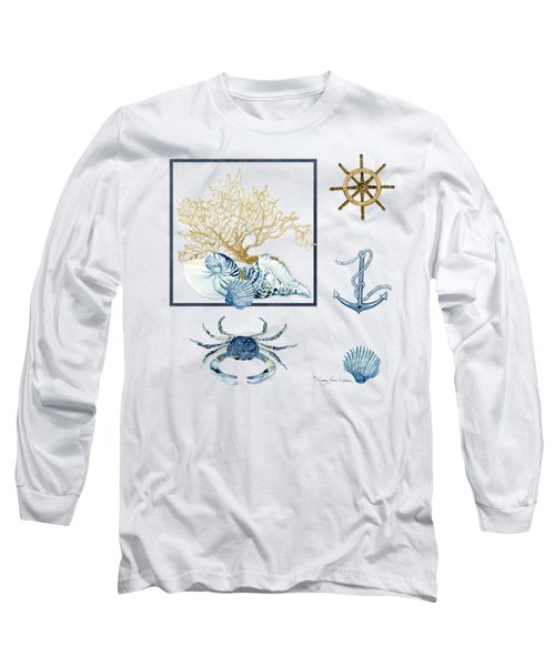 Beach House Nautical Seashells Ships Wheel Anchor N Crab Long Sleeve T-Shirt by Audrey Jeanne Roberts
