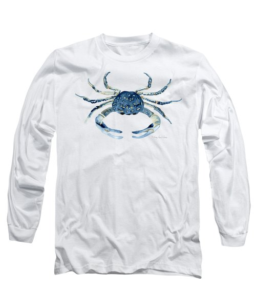 Beach House Sea Life Blue Crab Long Sleeve T-Shirt by Audrey Jeanne Roberts