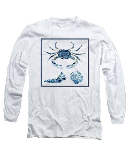 Beach House Sea Life Crab Turban Shell N Scallop Long Sleeve T-Shirt by Audrey Jeanne Roberts