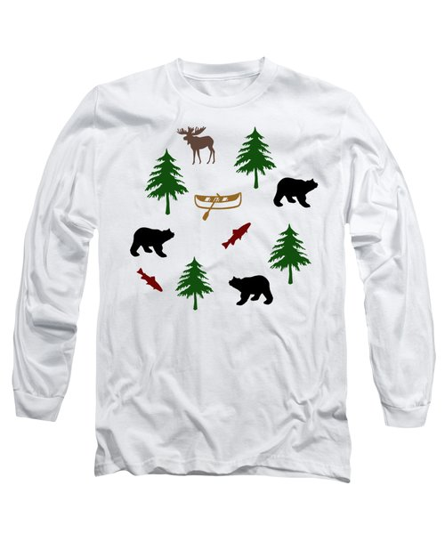 Bear Moose Pattern Long Sleeve T-Shirt by Christina Rollo
