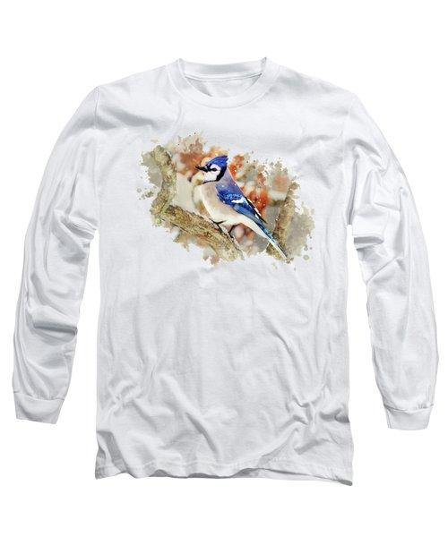 Beautiful Blue Jay - Watercolor Art Long Sleeve T-Shirt by Christina Rollo
