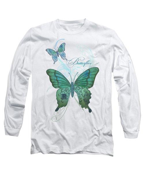 Beautiful Butterflies N Swirls Modern Style Long Sleeve T-Shirt by Audrey Jeanne Roberts