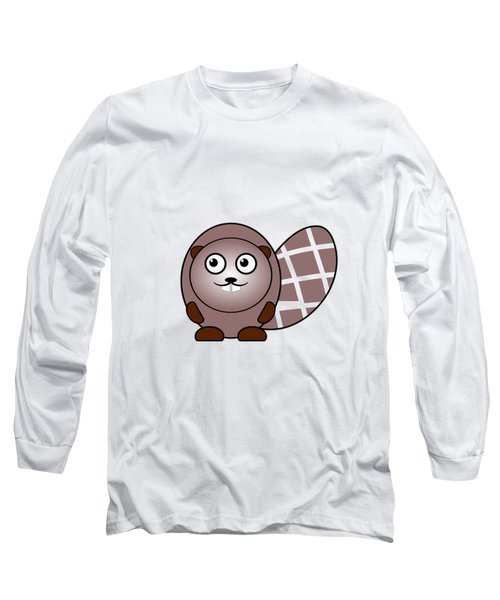 Beaver - Animals - Art For Kids Long Sleeve T-Shirt by Anastasiya Malakhova