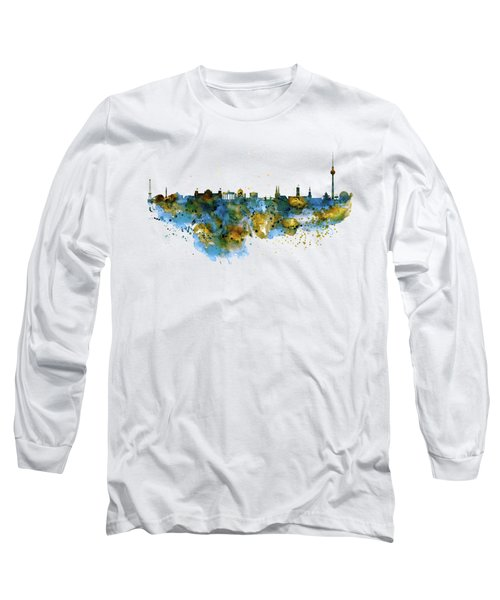 Berlin Watercolor Skyline Long Sleeve T-Shirt by Marian Voicu