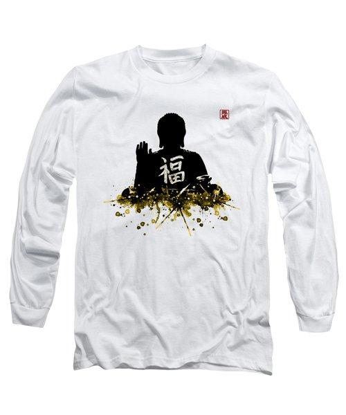 Big Buddha Blessing Long Sleeve T-Shirt by JW Digital Art