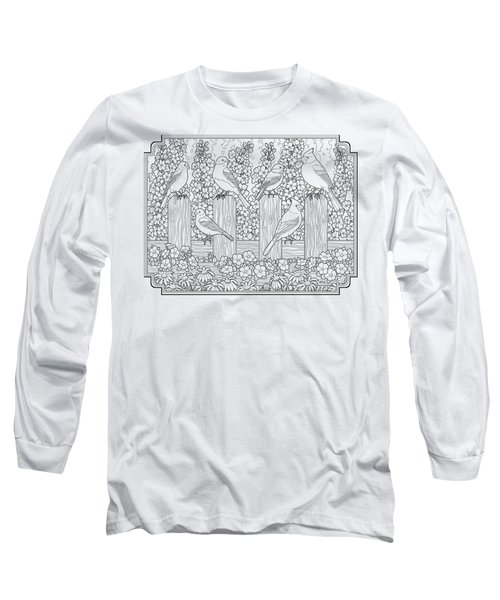 Birds In Flower Garden Coloring Page Long Sleeve T-Shirt by Crista Forest