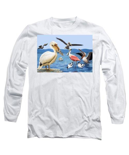 Birds With Strange Beaks Long Sleeve T-Shirt by R B Davis