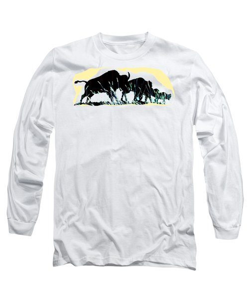 Bison Prairie Run Long Sleeve T-Shirt by Aliceann Carlton