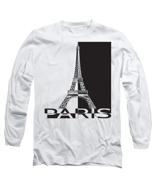 Black And White Eiffel Tower Long Sleeve T-Shirt by Yurii Perepadia