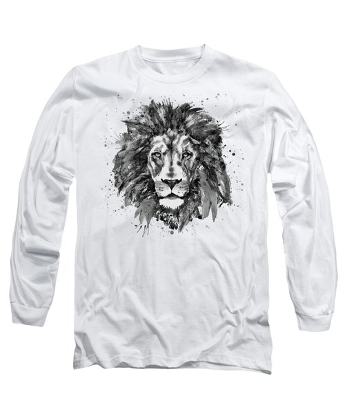 Black And White Lion Head  Long Sleeve T-Shirt by Marian Voicu