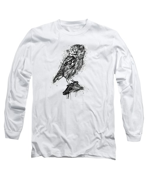 Black And White Owl Long Sleeve T-Shirt by Marian Voicu