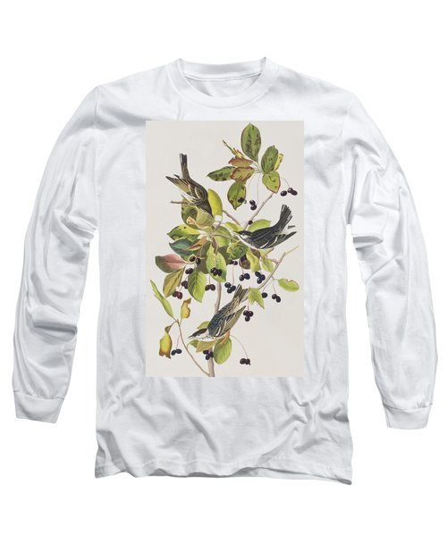 Black Poll Warbler Long Sleeve T-Shirt by John James Audubon