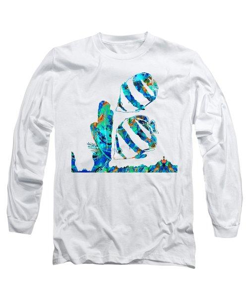 Blue Angels Fish Art By Sharon Cummings Long Sleeve T-Shirt by Sharon Cummings