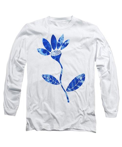 Blue Flower Long Sleeve T-Shirt by Frank Tschakert