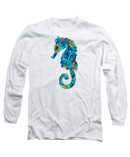 Blue Seahorse Art By Sharon Cummings Long Sleeve T-Shirt by Sharon Cummings