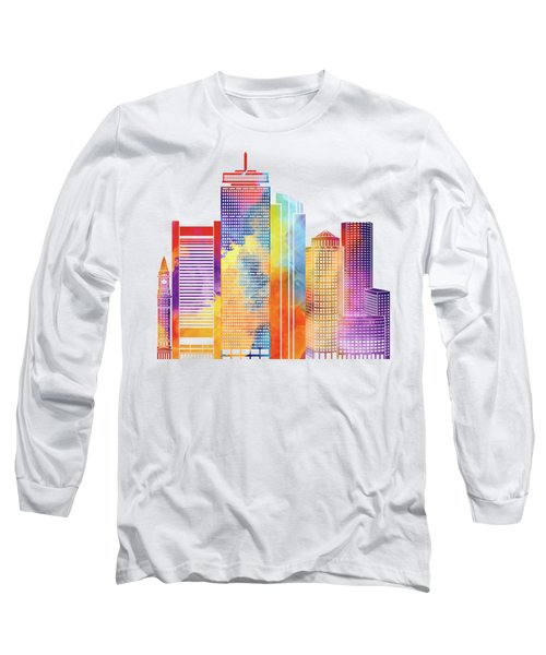 Boston Landmarks Watercolor Poster Long Sleeve T-Shirt by Pablo Romero