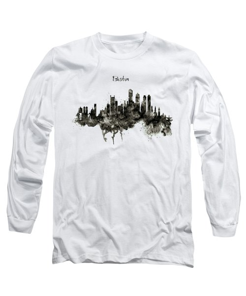 Boston Skyline Black And White Long Sleeve T-Shirt by Marian Voicu
