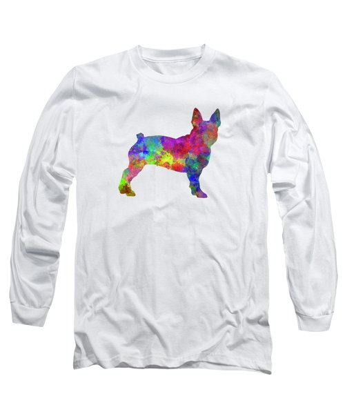 Boston Terrier 01 In Watercolor Long Sleeve T-Shirt by Pablo Romero