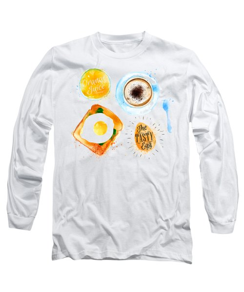 Breakfast 02 Long Sleeve T-Shirt by Aloke Design