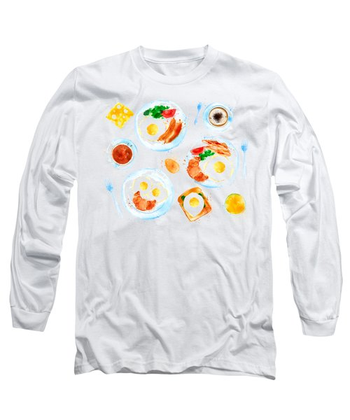 Breakfast 05 Long Sleeve T-Shirt by Aloke Design