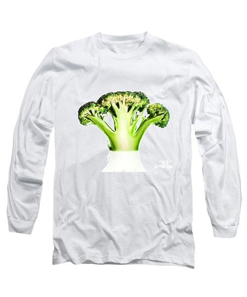 Broccoli Cutaway On White Long Sleeve T-Shirt by Johan Swanepoel