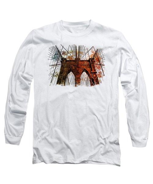 Brooklyn Bridge Art 1 Long Sleeve T-Shirt by Di Designs