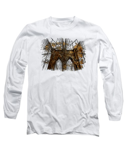 Brooklyn Bridge Earthy 3 Dimensional Long Sleeve T-Shirt by Di Designs