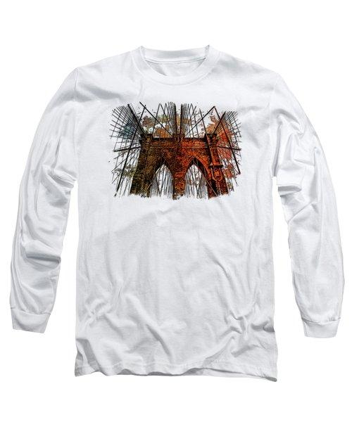 Brooklyn Bridge Earthy Rainbow 3 Dimensional Long Sleeve T-Shirt by Di Designs