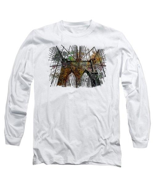 Brooklyn Bridge Muted Rainbow 3 Dimensional Long Sleeve T-Shirt by Di Designs