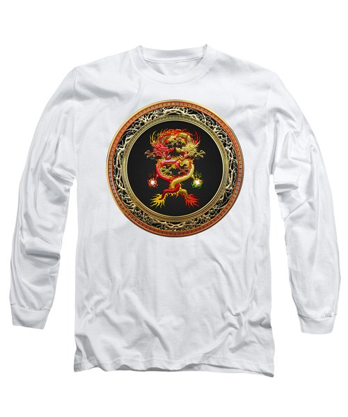 Brotherhood Of The Snake - The Red And The Yellow Dragons On White Leather Long Sleeve T-Shirt by Serge Averbukh