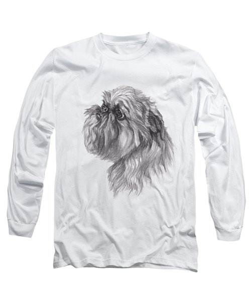 Brussels Griffon Dog Portrait  Drawing Long Sleeve T-Shirt by I Am Lalanny