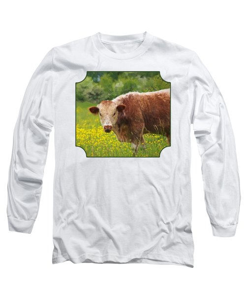 Buttercup - Brown Cow Long Sleeve T-Shirt by Gill Billington
