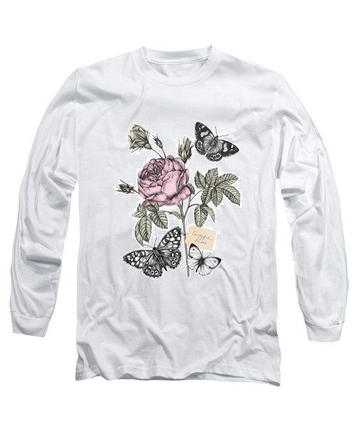 Cabbage Rose Long Sleeve T-Shirt by Stephanie Davies