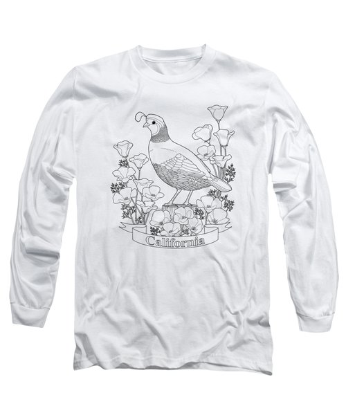 California State Bird And Flower Coloring Page Long Sleeve T-Shirt by Crista Forest